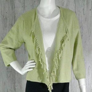 Chico's Women's Wool Fringed Cardigan Size 2